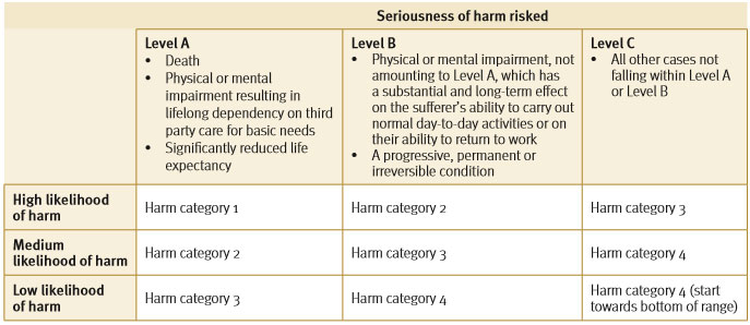 seriousness of harm scale